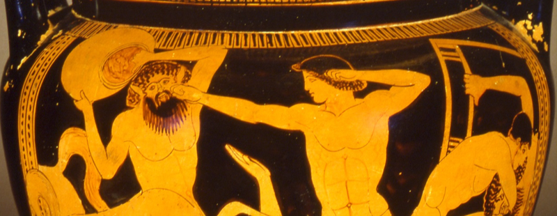 "Left jab and ""guillotine"" choke in Centauromachy, Red-figure krater, Museo Archeologico, Florence, Photo Credit: Soprintendenza Archeologica per la Toscana-Firenze"
