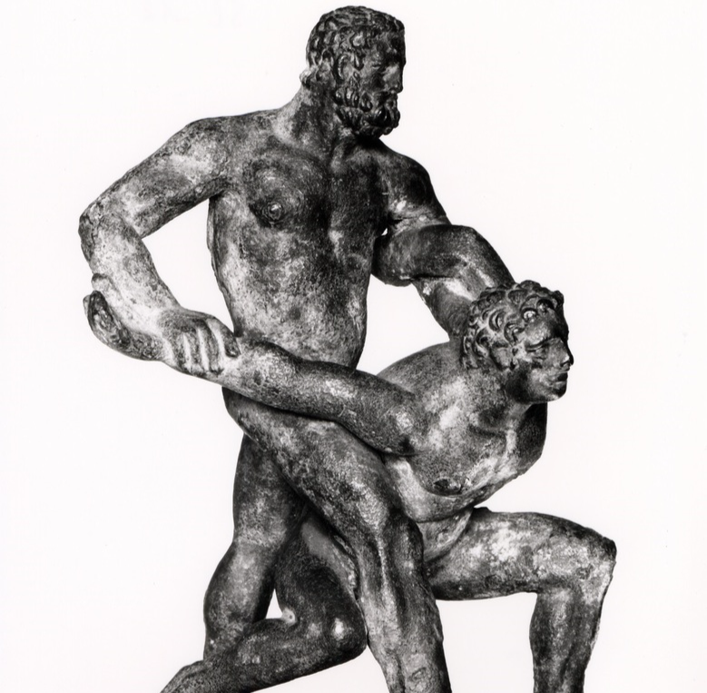 Pankratiast applying arm bar & shoulder lock combination, Hellenistic era Greek bronze, SL 18, Antikensammlungen, Munich, Photo: Koppermann, Photo Credit: Staatliche Antikensammlungen and Glyptothek M